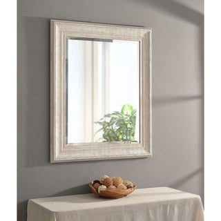 Hunter 35-inch Distressed White Wood Wall Mirror