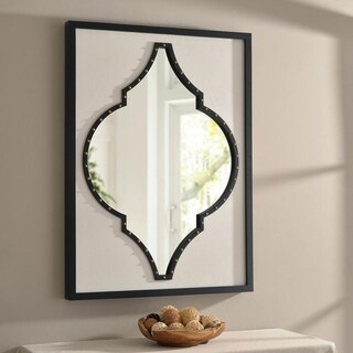 Nola 28-inch Faux White Leather and Black Wood Wall Mirror