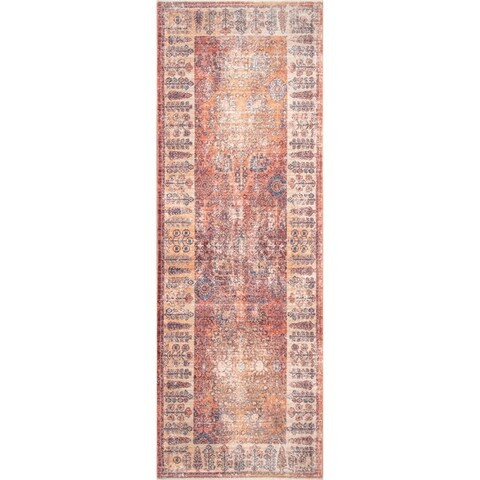 nuLOOM Classical Aida Ombre Tree Brush Border Area Rug