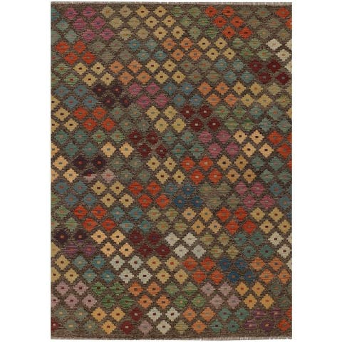 Handmade One-of-a-Kind Vegetable Dye Kilim Wool Rug (Afghanistan) - 4'10 x 6'8