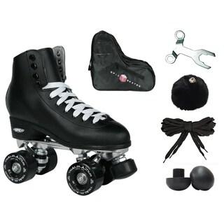 Epic Classic Solid Black High-Top Quad Roller Skate Bundle w/ Bag, Laces, & Pom Poms!
