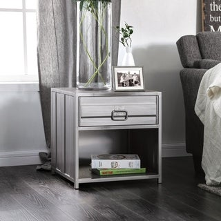 Carbon Loft Woolf Metal Silver Tone 1-drawer Nightstand