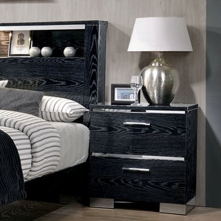 Carbon Loft Champs Chrome Trim USB 2-drawer Nightstand