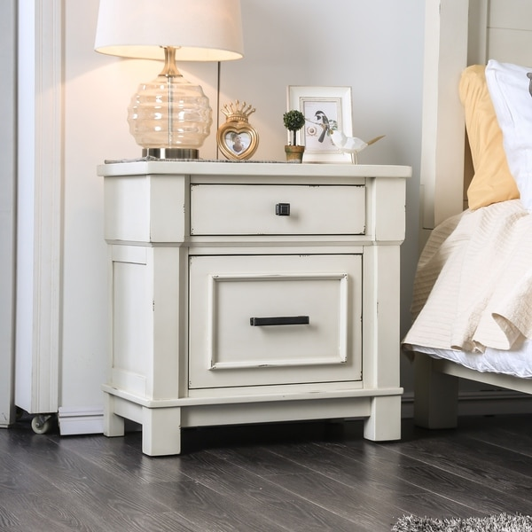 shop furniture of america hawthorne antique white usb nightstand on sale free shipping today. Black Bedroom Furniture Sets. Home Design Ideas