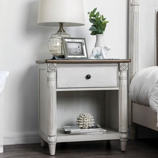 Furniture of America Adelaide Traditional White Solid Wood Nightstand