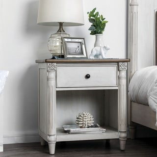 Adelaide Traditional Antique White USB 1-drawer Nightstand by FOA