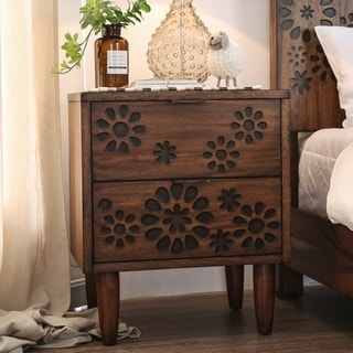 Carson Carrington Reine Transitional Dark Oak 2-drawer Nightstand