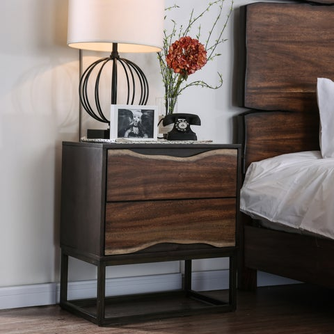 Montana Rustic Dark Walnut 2-drawer Nightstand by FOA