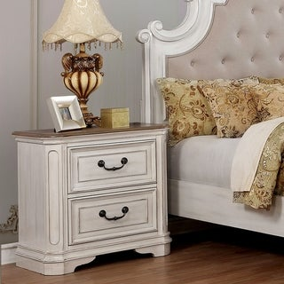 The Gray Barn Windy Poplars Transitional White 2-drawer USB Nightstand