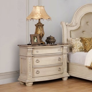 Furniture of America Ernestine Genuine Marble Top Nightstand