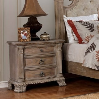 Furniture of America Jaza Traditional Brown Solid Wood Nightstand