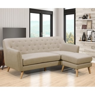 Mason Mid Century Modern Upholstered Living Room Reversible Ottoman Sectional