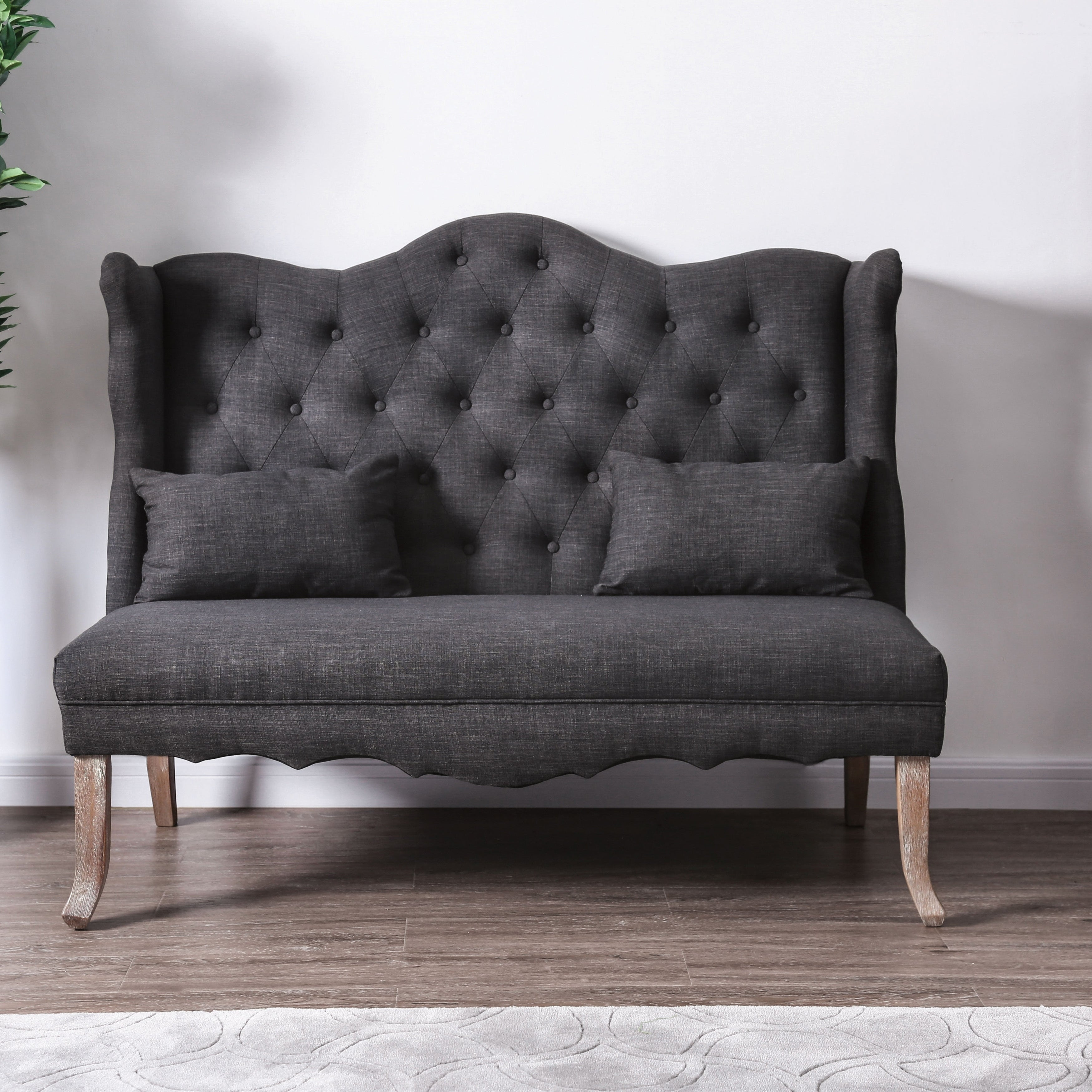 Copper Grove Cherkva Tufted Wingback Loveseat Bench On Sale Overstock 23139319 Grey