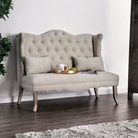 Furniture of America Caprice Tufted Wingback Loveseat Bench