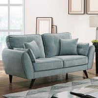 Furniture of America Ahn Mid-Century Modern Light Teal Loveseat
