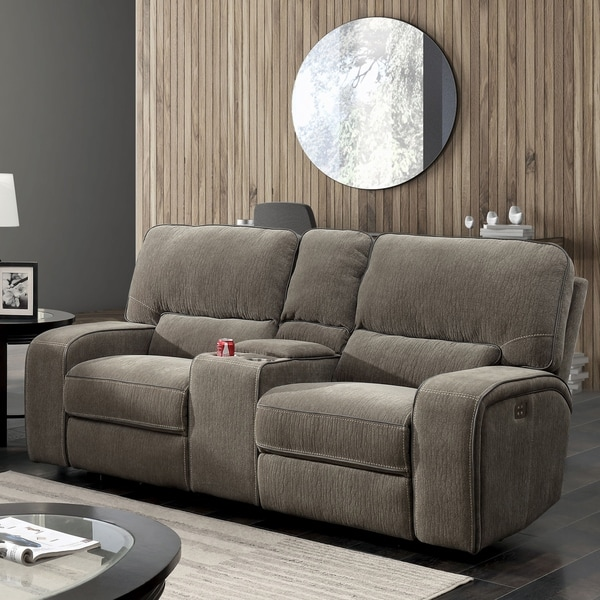 Shop Furniture Of America Stetson Chenille Power Reclining Loveseat