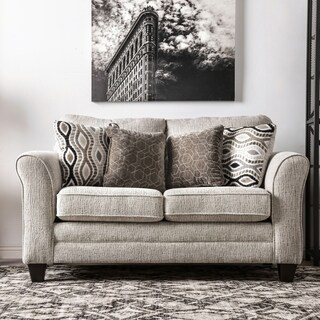 Furniture of America Hill Grey Chenille Loveseat