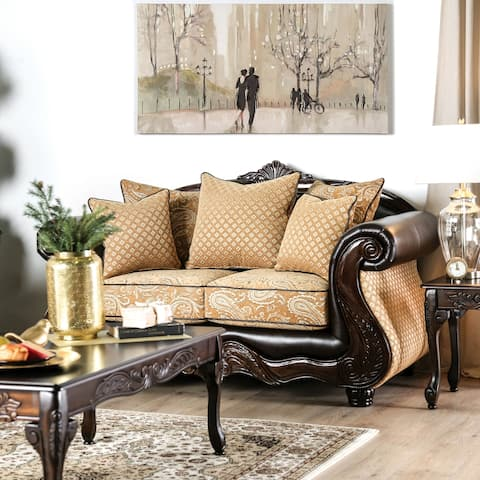 Furniture of America Gowe Transitional Gold Chenille Loveseat