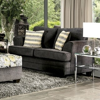 Furniture of America Adeline Grey Chenille Loveseat