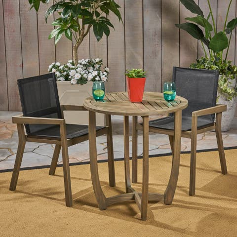 Marcello Outdoor Acacia Wood 3 Piece Dining Set with Mesh Seats by Christopher Knight Home