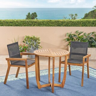 Marcello Outdoor 2-Seater Round Acacia Wood Mesh Seats Dining Set by Christopher Knight Home