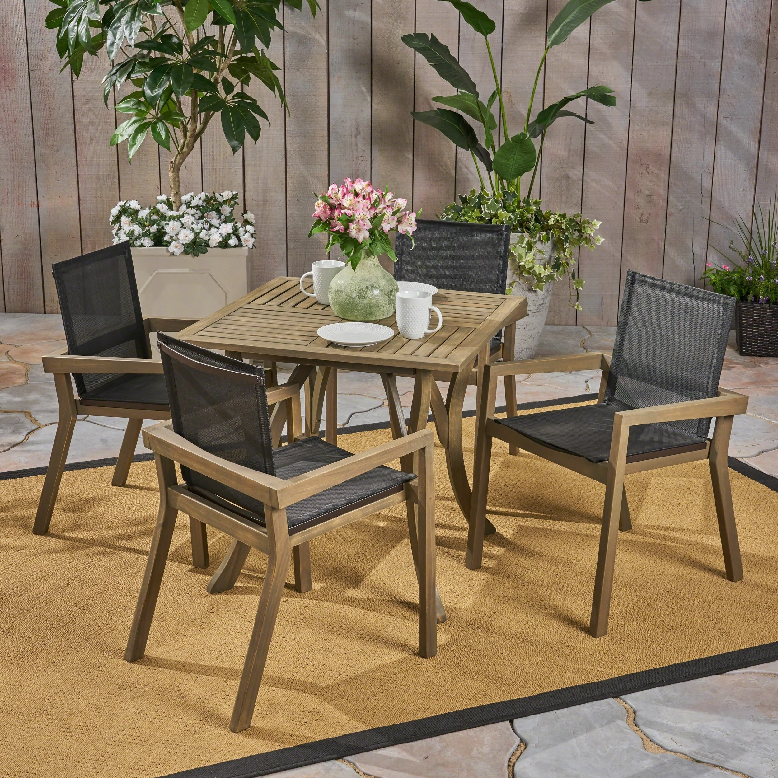 Chaucer Outdoor 4 Seater Square Acacia Wood Mesh Seats Dining Set By