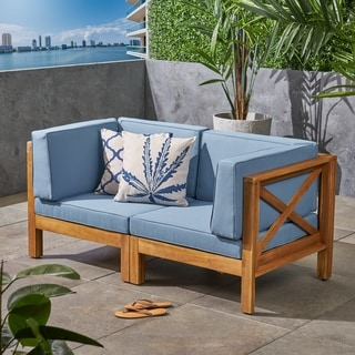 Link to Brava Outdoor 2-Seater Sectional Acacia Wood Loveseat Set With Water-Resistant Cushions by Christopher Knight Home Similar Items in Outdoor Loveseat