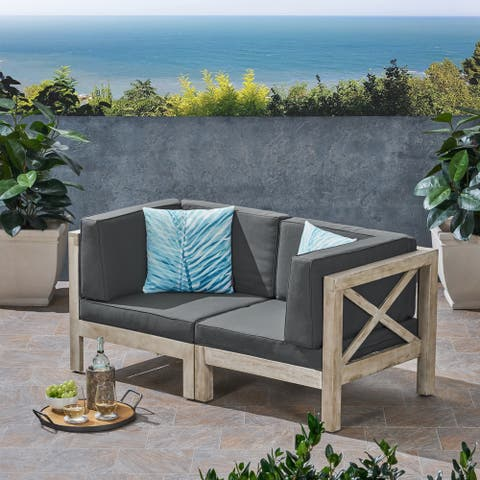 Brava Outdoor 2-Seater Sectional Acacia Wood Loveseat Set With Water-Resistant Cushions by Christopher Knight Home