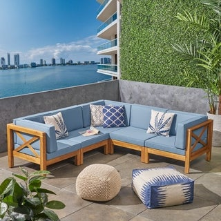 Brava Outdoor 5-Seater Acacia Wood Sectional Sofa Set with Water-Resistant Cushions by Christopher Knight Home