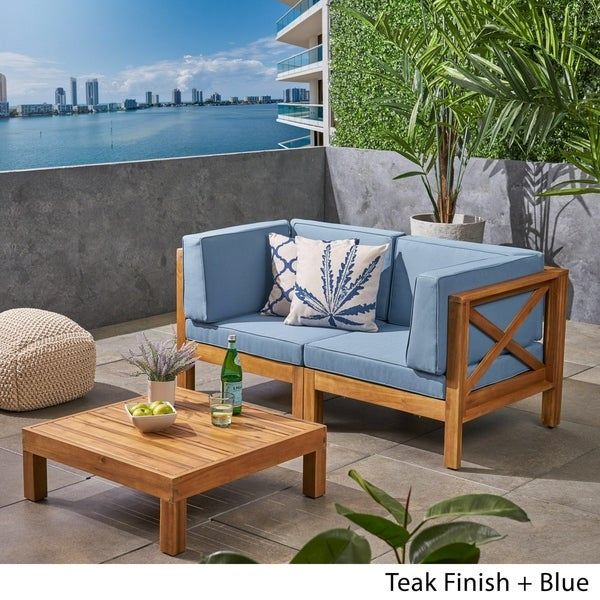 Brava Outdoor 2-Seater Sectional Acacia Wood Loveseat Set with Coffee Table and Cushions by Christopher Knight Home. Opens flyout.