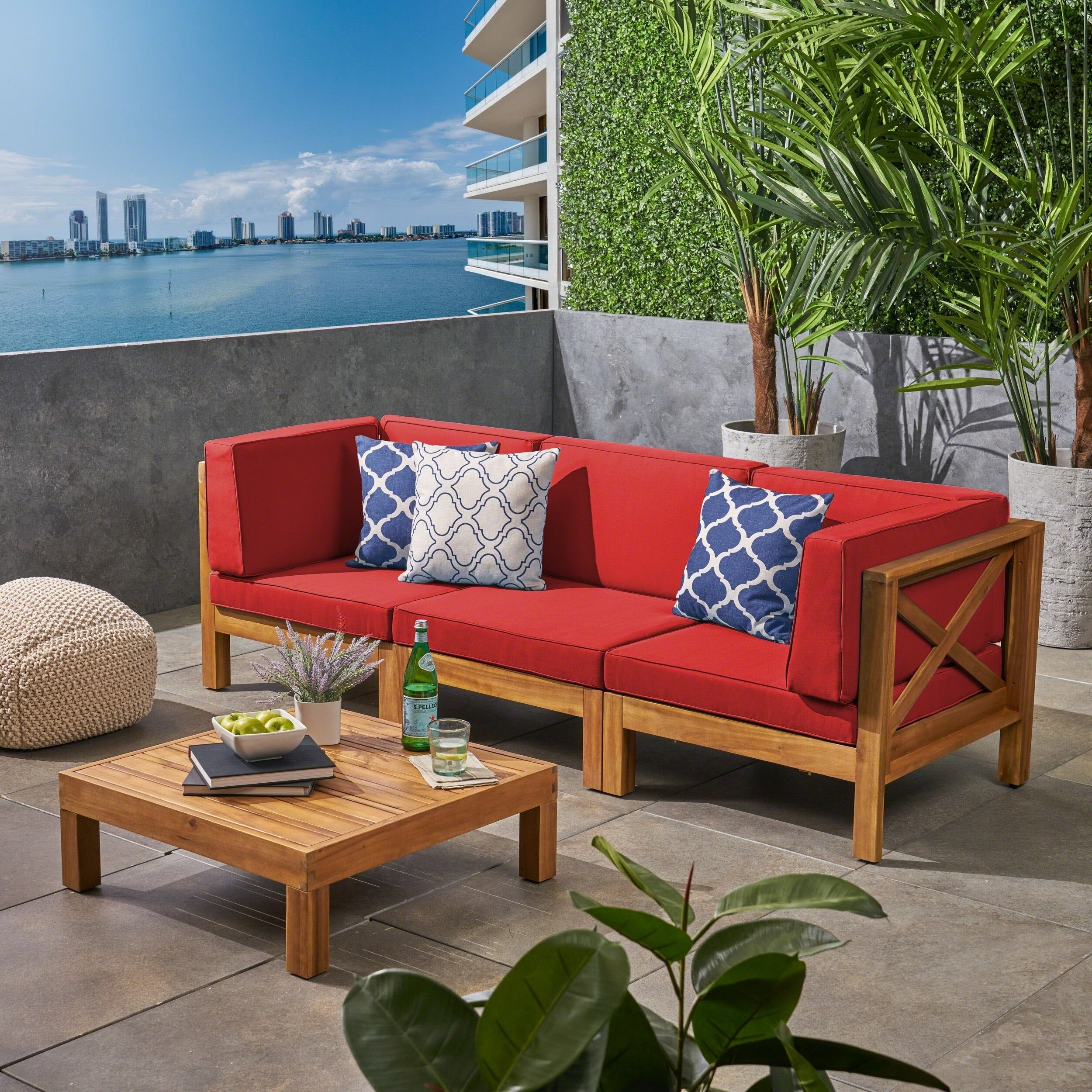 Brava Outdoor 3-Seater Acacia Wood Sectional Sofa Set with ...