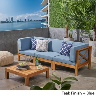 Brava Outdoor 3-Seater Acacia Wood Sectional Sofa Set with Coffee Table and Cushions by Christopher Knight Home