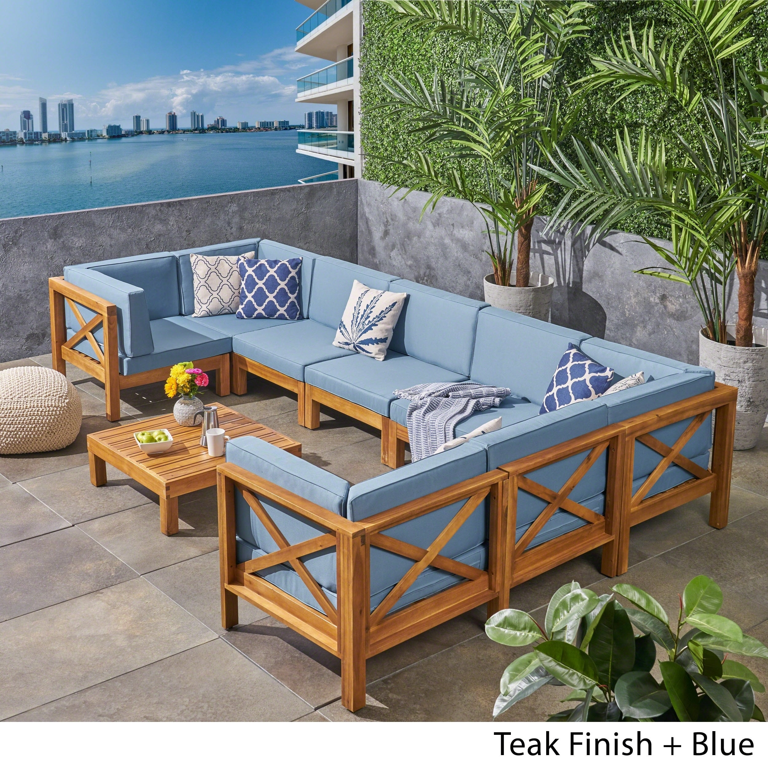 Brava Outdoor 8 Seater Acacia Wood Sectional Sofa Set By Christopher Knight Home On Free Shipping Today 23139527 Grey Dark