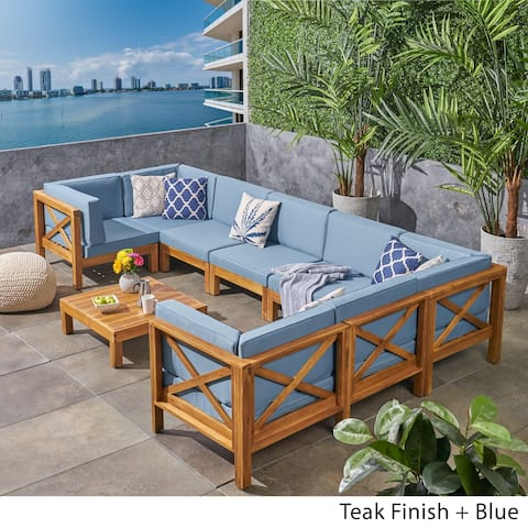 Brava Outdoor 8-Seater Acacia Wood Sectional Sofa Set by Christopher Knight Home