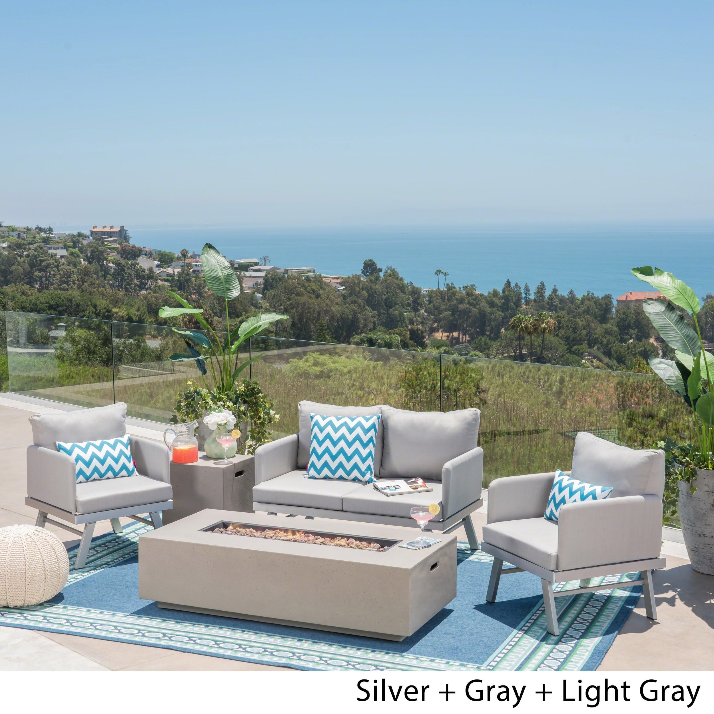 Image of: Shop Black Friday Deals On Cosima Outdoor Modern Aluminum 4 Seater Chat Set With Fire Pit By Christopher Knight Home Overstock 23139532