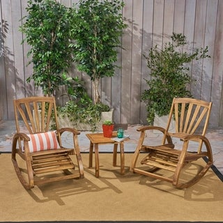 Sunview Outdoor Acacia Wood Rocker Recliners with Side Table by Christopher Knight Home