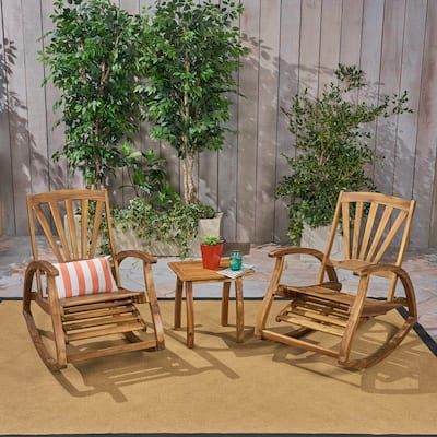 Sunview Outdoor Rustic Acacia Wood Recliner Rocking Chair with Side Table by Christopher Knight Home