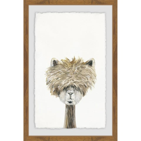 'Bushy Haired Llama' Framed Painting Print - Multi-color