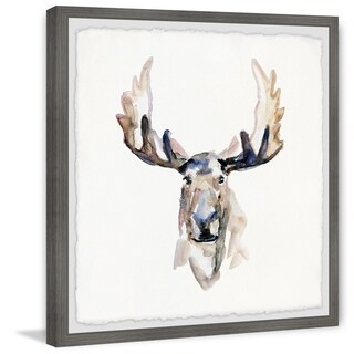 'Moose Face' Framed Painting Print - Multi-color