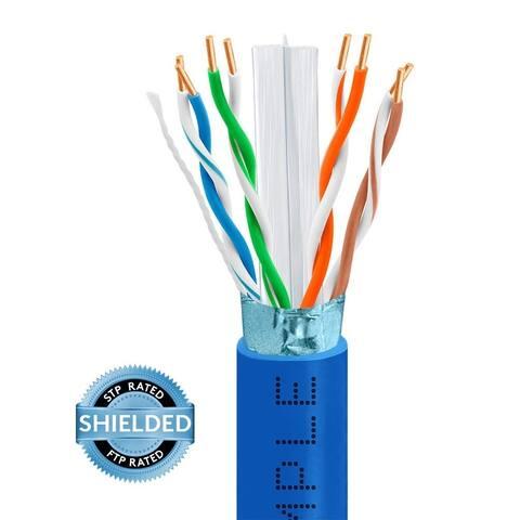 Cmple Cat6 550MHz Bulk STP/FTP 23AWG Bare Copper Ethernet Cable, Blue - 1000 Feet