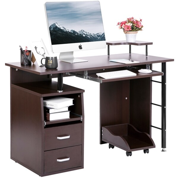 Shop ModernLuxe Computer Desk Table Workstation With Two