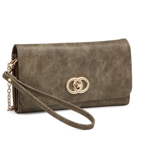All-In-One Soft Faux Leather Wallet Clutch/Wristlet with Twist lock closure