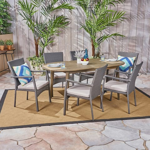 Stamford Outdoor 7-Piece Acacia Wood Dining Set with Wicker Chairs by Christopher Knight Home