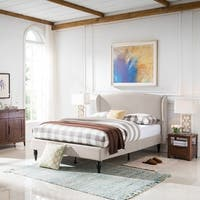 Trevally Traditional Fully-Upholstered Queen-Sized Bedframe by Christopher Knight Home