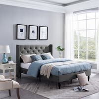 Roz Traditional  Fully-Upholstered Queen-Sized Bedframe by Christopher Knight Home