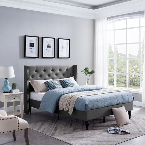 Roz Traditional Fully-Upholstered Bedframe by Christopher Knight Home