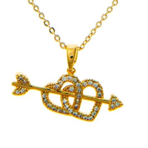 "Champagne Gold Plated Necklace with Cupid's Arrow Double Heart Design with a 16"" and High Quality Crystals by Matashi"