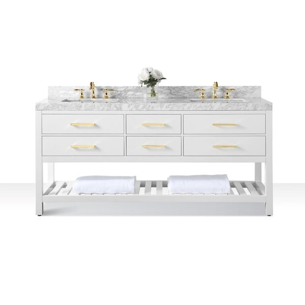 Shop Ancerre Designs Elizabeth 72 Inch White Vanity With Carrara White Marble Top And Gold