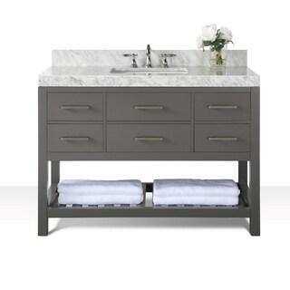 Ancerre Designs Elizabeth Sapphire Grey Birchwood 48-inch Vanity with Carrara White Marble Top