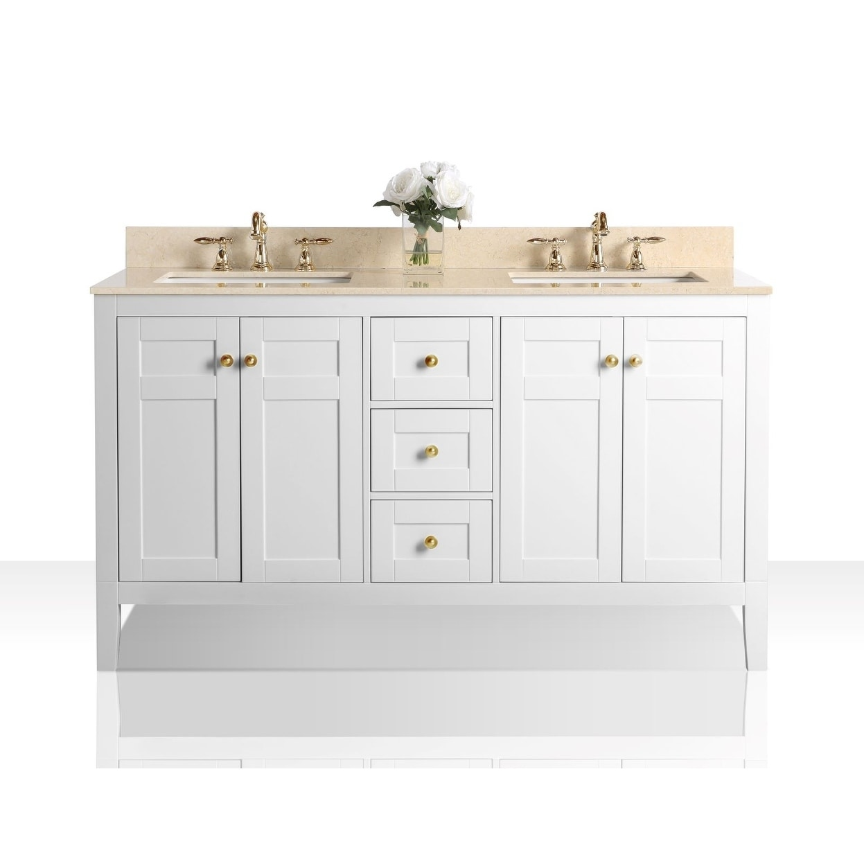 Ancerre Designs Maili White Wood 60 Inch Vanity With Galala Beige Marble Top And Gold Finish Hardware Overstock 23140713